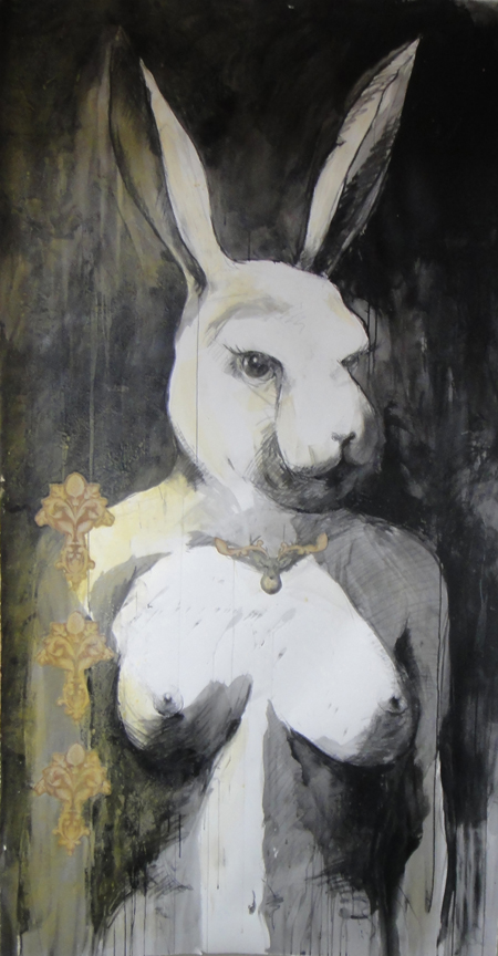 "How far down the rabbit hole are you willing to go?, Wax, Acrylic, Charcoal, collage on Paper, 42"" x 80"", 2011"