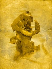 """Hybrid Sculpture, Beeswax, wire, bone, silk, 18"""" x 7"""", 2011"""