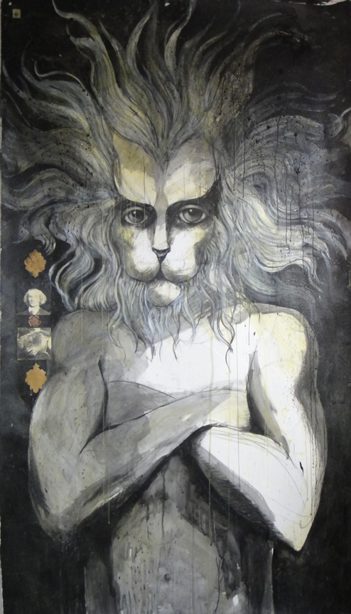 "The young lion with overcome the old one, Nostradamus, Wax, Acrylic, Charcoal, collage on Paper, 42"" x 80"", 2011"