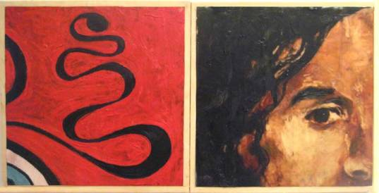 "Encaustic and Giclee on board, (32"" x 16"", 2005"
